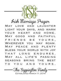 Monogram Irish Marriage Prayer Great Wedding by CoCoStineDesigns