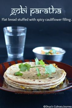 Gobi Paratha - Indian flat bread (made with wheat flour) stuffed with spicy cauliflower filling. Healthy & Vegan.