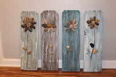 Home Design Ideas: Home Decorating Ideas Rustic Home Decorating Ideas Rustic Reclaimed Wood Sign Rock Flowers by CSquaredCustomsRock Flowers on Reclaimed Fence Pickets with by CSquaredCustomsBrowse unique items from csquaredcustoms on etsy a global m Reclaimed Wood Signs, Diy Wood Signs, Rustic Wood, Rustic Art, Stone Crafts, Rock Crafts, Crafts With Rocks, Art Rupestre, Art Pierre