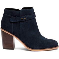 Sole Society Lyriq Heeled Ankle Bootie ($100) ❤ liked on Polyvore featuring shoes, boots, ankle booties, ink navy, high heel boots, navy suede boots, navy blue ankle boots, chunky-heel ankle boots and navy blue booties