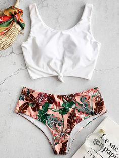 Tropical Leaf Knotted Bikini Set