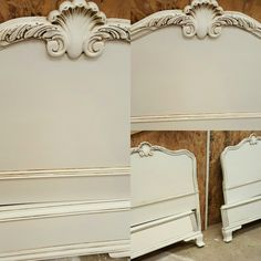 Gorgeous headboard French Furniture, Painted Furniture, Diy Furniture, Refinished Furniture, Furniture Refinishing, Headboard Benches, Painted Vanity, Diy Dresser Makeover, Sleigh Beds
