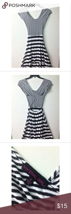 Material girl criss cross back striped maxi dress cute striped maxi