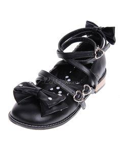 f6fd84af0d1b Lolitashow Sweet Black Lolita Low Square Heels Shoes Ankle Straps Bows