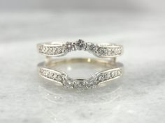 Vintage Engagement Ring Enhancer, Wrap, Guard, Jacket, Bright White Gold, Diamonds - N2JMAT-N