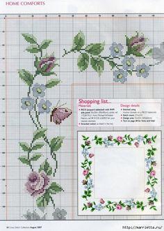Вышивка на салфетке - розы и незабудки