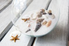 Consider personalizing clear ball ornaments as an easy and frugal Christmas project. They're a blank canvas for creativity, and a really fun holiday craft activity for all ages! Clear Glass Ornaments, Seashell Ornaments, Seashell Crafts, Beach Crafts, Glass Christmas Ornaments, Sand Crafts, Christmas Balls, Christmas Projects, Christmas Crafts
