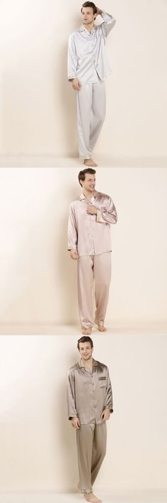 2017 100% Real Silk Mens Sleepwear Sets Male Homedress Solid Pajamas Shirt + Pant  2pcs for Summer Embroidery Collar LX80039M