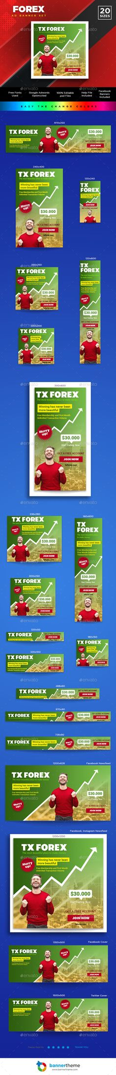 Buy Forex Banner by bannertheme on GraphicRiver. Forex Banner Wonderful banner designs for 20 different sizes ready for all your products, services, campaigns and pro. Web Design, Flat Design, Graphic Design, Money Makeover, Social Media Design, Banner Template, Ways To Save Money, Business Logo, Banner Design