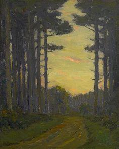 """Road through the Woods,"" Charles Warren Eaton, 1900-10, oil on board, 10 1/8 x 8 1/8"", Spanierman Gallery."