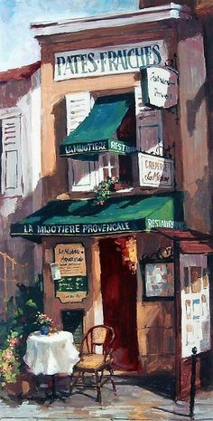 "George Botich, ""The Little Creperie"", image, French bakery Landscape Art, Landscape Paintings, Intermediate Colors, Cafe Art, Embroidery Patterns, Hand Embroidery, Counted Cross Stitch Patterns, Illustrations, Art Drawings"