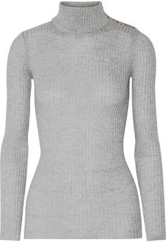 The Elder Statesman - Cashmere Turtleneck Sweater - Light gray ...