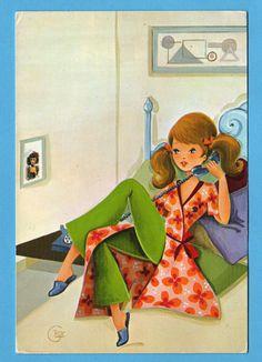 Postcard vintage seventies. Mod girl talking on by bluumievintage