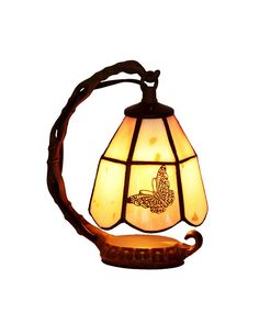 Tiffany Style Yellow Bell Shape Night Light with Butterfly Pattern