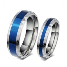 BLUE IN MIDDLE TITANIUM STEEL PROMISE RINGS FOR COUPLE