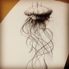 jellyfish sketch -- black and white -- via mike fudge @mikefudgeart Instagram photos | Webstagram http://instagram.com/p/kA6U9amMvz/