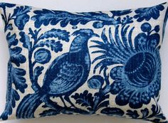 Bird Pillow Cover  Blue and White Pillow Cover  by Freshlysewn, $25.00