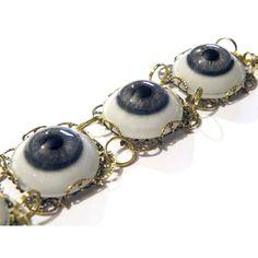 Steampunk Blue Human Glass Eye Eyeball Gold Gothic by tempusfugit