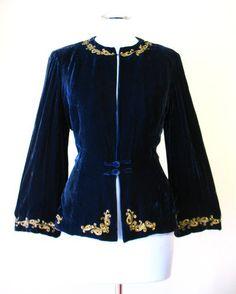 Vintage 30s Jacket Blue Silk Velvet Beaded Medium bust 38 at Couture Allure Vintage Clothing