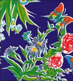 Edgars Butterfly Royal Blue Oilcloth....by Oilcloth by the Yard--RH