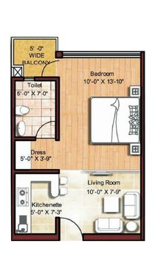 "Studio Apartment Layout Plans 50 one ""1"" bedroom apartment/house plans 