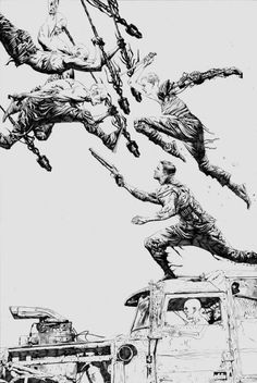 Ungoliantschilde — Mad Max: Fury Road*, illustrated by Jae Lee with. Comic Book Artists, Comic Artist, Comic Books Art, Comic Drawing, Cartoon Drawings, Jae Lee, Mad Max Fury Road, Movie Poster Art, Film Posters