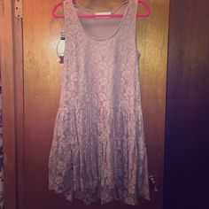 Beautiful blush lace mini dress (or tunic!) A lovely Lacey blush dress that is as comfortable as it is pretty! a' reve Dresses Mini