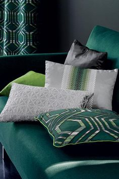 Grace Fabric by Casamance Pillow Room, Pillow Fabric, Behind The Green Door, Beige Bed Linen, Casamance, Green Sofa, Decoration Inspiration, Bedding Sets Online, Bed Styling
