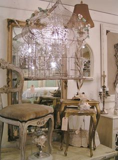 love a good flea market find.    Me too!  What a fabulous bird cage!  It would fit on top of the wall by my bar.