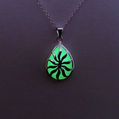 Green Glowing Necklace, Glowing Jewelry,  Glow in the Dark Pendant, Gift for Her, Gift ideas - pinned by pin4etsy.com