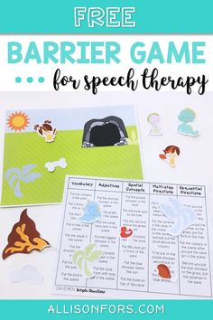 FREE Cavemen and Dinos Themed Barrier Game Speech Therapy Preschool Speech Therapy, Speech Activities, Speech Language Pathology, Speech Therapy Activities, Language Activities, Speech And Language, Play Therapy, Therapy Ideas, Shape Activities