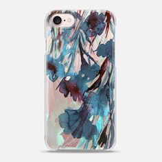 DANCING IN THE GARDEN 4, TEAL DEEP BLUE CRIMSON RED Colorful Floral Watercolor Abstract Flowers Painting Botanical Lovely Fresh Nature Ebi Emporium - Snap Case #Casetify @Casetify #EbiEmporium #iPhoneCase #iPhone6 #iPhone7Plus #iPhone8Plus #iPhone7 #iPhone8 #iPhoneX #Samsung #case #floral #girly #watercolor #transparent #garden #flowers #floraliPhone #CasetifyArtist