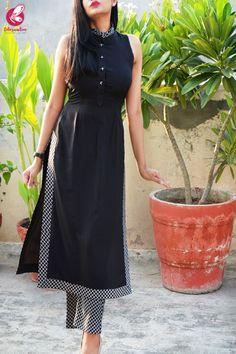 Buy black & white printed crepe kurti with printed crepe palazzo pant online in india colorauction. Indian Fashion Dresses, Dress Indian Style, Indian Designer Outfits, Designer Dresses, Kurta Designs Women, Blouse Designs, Black Kurti, Velvet Dress Designs, Kurta Neck Design