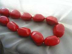 Vintage Jewelry Large Heavy Chunky Mid Century Red Beaded Necklace