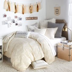 Shop Dormify for the hottest dorm room decorating ideas. You'll find stylish college products, unique room and apartment decor, and dorm bedding for all styles. Dream Rooms, Dream Bedroom, Girls Bedroom, Bedroom Decor, Girl Room, Design Bedroom, Bedroom Bed, Modern Bedroom, Bedding Decor
