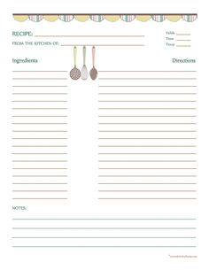 Recipes Card Printables