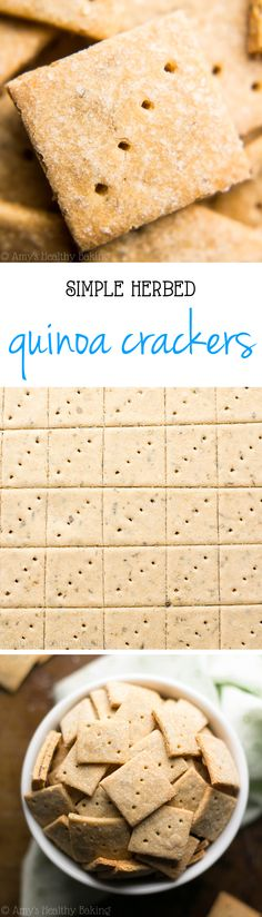 SO much b… Healthy Gluten-Free Herbed Quinoa Crackers — crunchy, easy & amazing! SO much better than store-bought! Protein Snacks, Vegan Snacks, Healthy Snacks, Snack Recipes, Cooking Recipes, Healthy Recipes, Free Recipes, Sans Gluten, Gluten Free
