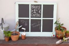 paint an old window frame with chalkboard paint