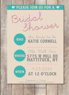 Pin and save: Pin this link and use code THANKS4PINNING to save 10% on your purchase!  https://www.etsy.com/listing/209890698/bridal-shower-invitation-bridal-shower?ref=shop_home_active_23