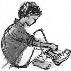 Tying Shoelaces PRINT Teachers Gift Tutors Gift by AlidaBothmaArt