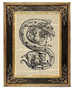 Draco-The-Dragon-2-Art-Print-on-Antique-Book-Page-Vintage-Illust-Constellation