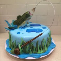 Great Picture of Fishing Birthday Cakes . Fishing Birthday Cakes Fly Fishing Cake For My Hub Bass Jumping Out Of Water Bass Birthday Cakes For Men, Fish Cake Birthday, Birthday Decorations For Men, Fishing Birthday Cakes, Water Birthday, 75th Birthday, Birthday Gifts, Happy Birthday, Savoury Cake
