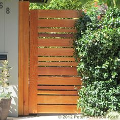 Horizontal Urban Style Fence    Altadena, California 2012  All Clear Redwood construction  40 feet by 6 feet Custom Fence: $60 - $80 per foot