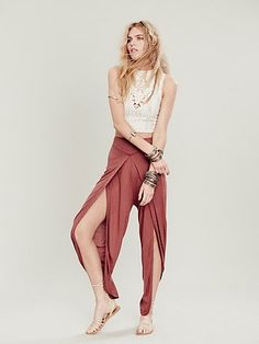 Free People Heidi Pant - it's basically a stitched dhoti! Love it! Lays flat at the belly and fits like a dhoti.