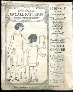 Vintage 1920s Children Sewing Pattern McCall 3510 Girl Dress Size 12