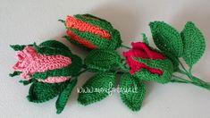 rose uncinetto con stelo chiuse Crochet Bookmark Pattern, Crochet Bookmarks, Crochet Buttons, Crochet Motif, Crochet Lace, Roses Au Crochet, Crochet Bouquet, Crochet Flowers, Crochet Crafts