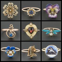 Conversion rings from Trademark Antiques. These pretty rings were all antique stickpins before Trademark Antiques converted them into rings to give them new life.