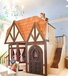 would love to have one big room with a little neighborhood for kids to play in-so cute!