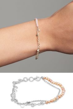This stunningly delicate bracelet has two sterling silver chains one with a row of pale pink freshwater pearls. This intertwined layered bracelet adds a gentle pop of colour to any outfit.