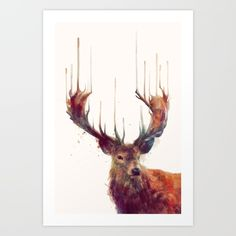 Red Deer // Stag Art Print by Amy Hamilton. Worldwide shipping available at…